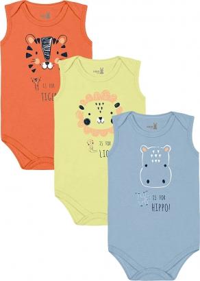 Body Infantil Masculino Verão Kit 3 Azul Hippo - Kiko e Kika