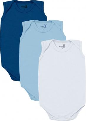 Body Infantil Masculino Verão Kit 3 Azul Lisos - Kiko e Kika