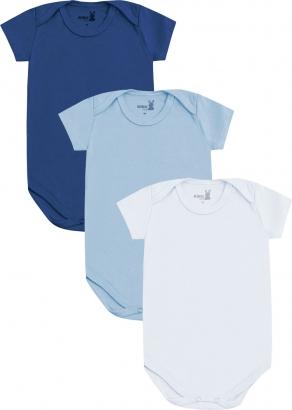 Body Infantil Masculino Verão Kit 3 Azul Médio Lisos - Kiko e Kika