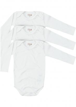 Body Infantil Unissex Inverno Kit 3 Branco Lisos - Kiko e Kika