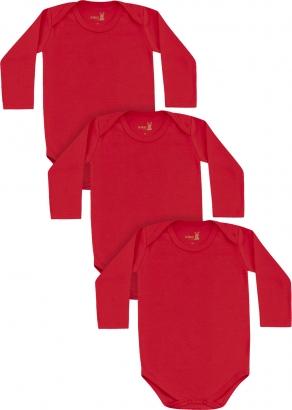 Body Infantil Unissex Inverno Kit 3 Vermelho Lisos - Kiko e Kika