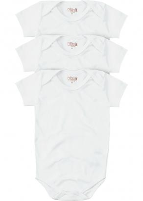 Body Infantil Unissex Verão Kit 3 Branco Lisos - Kiko e Kika