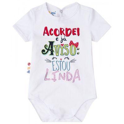 Body Infantil Acordei e já aviso: Estou Linda Zig Zig Zaa