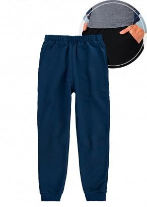 Calça De Moletom Infantil Jogger com Punho e Bolso Azul Malwee