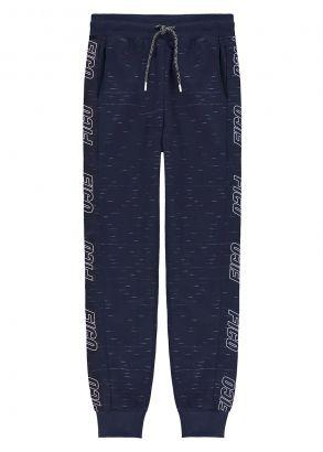 Calça Infantil Masculina Inverno Azul Moletom com Punho Fico