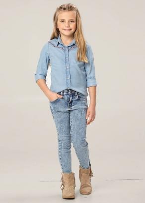 Calça Jeans Infantil Feminino Inverno Puídos - Carinhoso