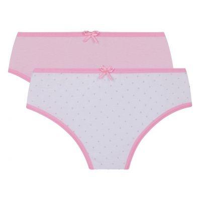 Calcinha Infantil Kit 2 Branca e Rosé Poá Lupo