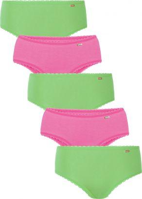 Kit 5 Calcinhas Infantil Rosa e Verde Lupo