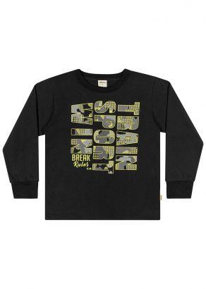 Camiseta Infantil Inverno Preta Sport Elian