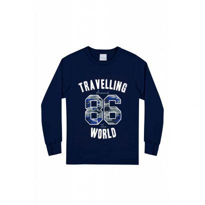 Camiseta Infantil Masculina Inverno Azul 86 Malwee