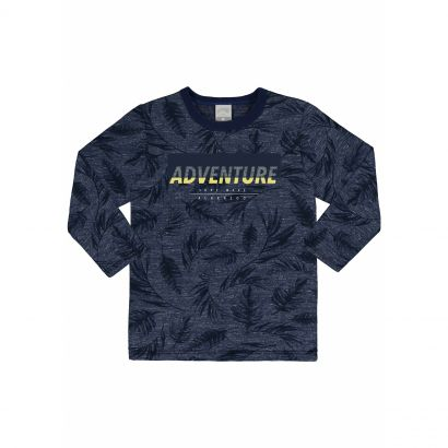 Camiseta Infantil Masculina Inverno Azul Adventure Alakazoo