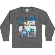 Camiseta Infantil Masculina Inverno Cinza Mescla Escuro Field Elian