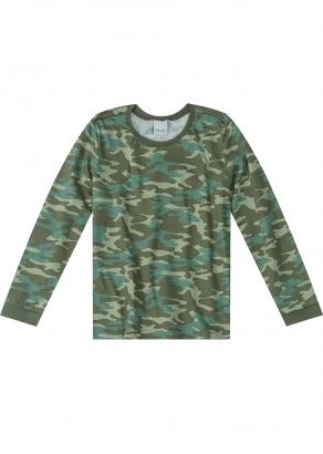Camiseta Infantil Masculina Inverno Verde Militar- Malwee