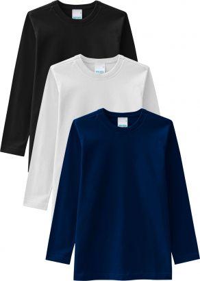 Camiseta Infantil Masculina Inverno Kit 3 Malwee