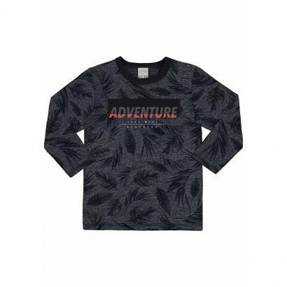 Camiseta Infantil Masculina Inverno Preto Adventure Alakazoo