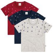 Camiseta Infantil Masculina Kit 3 Aviões Elian