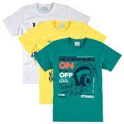 Camiseta Infantil Masculina Kit 3 Estampas Malwee