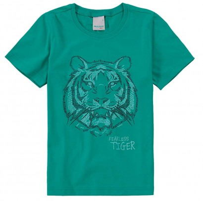 Camiseta Infantil Masculina Verão Verde Tiger  Malwee