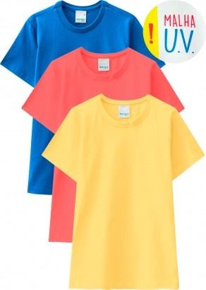 Camiseta Infantil Masculina Verão Amarela Kit 3 Malwee