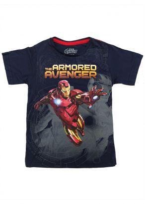 Camiseta Infantil Masculina Verão Azul Homem de Ferro Marvel