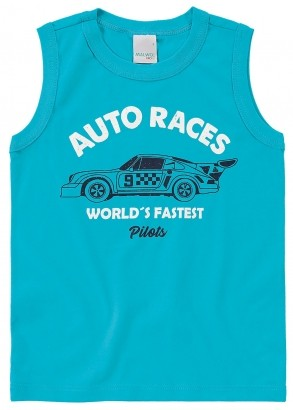 Camiseta Infantil Masculina Verão Azul Races Malwee