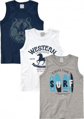 Camiseta Infantil Masculina Verão Branca Kit 3 Malwee