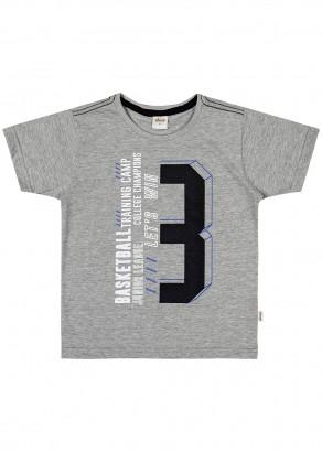 Camiseta Infantil Masculina Verão Cinza Basketball Elian