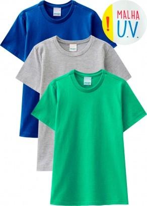 Camiseta Infantil Masculina Verão Cinza Kit 3 Malwee