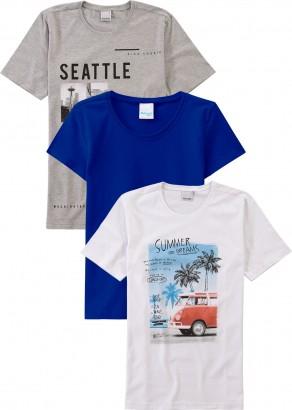 Camiseta Infantil Masculina Verão Kit 3 Dreams Malwee