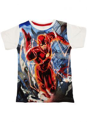 Camiseta Infantil Masculina Verão Offwhite Flash Marvel