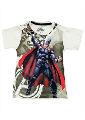 Camiseta Infantil Masculina Verão Offwhite Thor Marvel