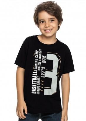 Camiseta Infantil Masculina Verão Preta Basketball Elian