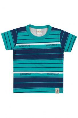Camiseta Infantil Masculina Verão Verde Listras Elian