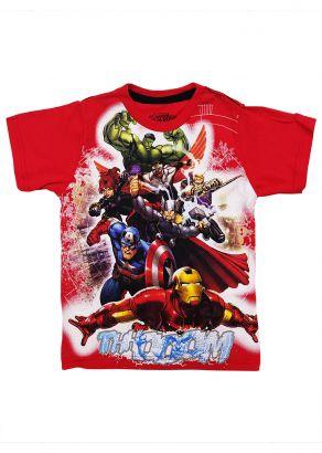 Camiseta Infantil Masculina Verão Vermelha Vingadores Marvel