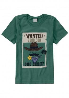 Camiseta Infantil Masculina Verde Good Sheriff Malwee