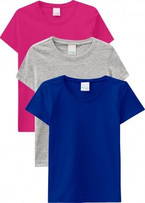 Kit 3 Camisetas Infantis Malwee Verão Resistente à Água