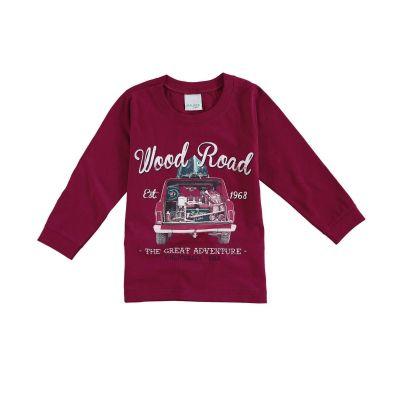 Camiseta Infantil Masculina Inverno Bordô Wood Road Malwee