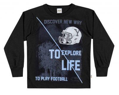 Camiseta Infantil Masculina Inverno Preta To Explore Life Elian