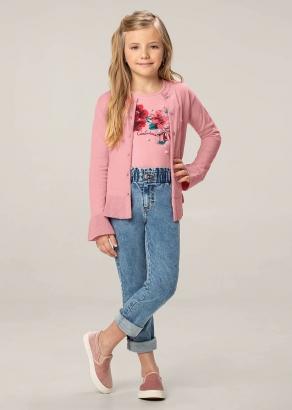 Cardigan Infantil Feminino Inverno Rosa Tricô - Carinhoso