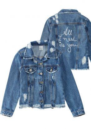 Casaco Infantil Feminino Inverno Azul Jeans Malwee