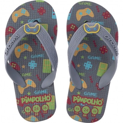 Chinelo Infantil Masculino Cinza Game Pimpolho