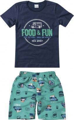 Conjunto Masculino Verão Azul Food Malwee