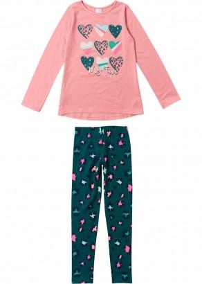 Conjunto Infantil de Inverno Feminino Coração Rosa - Malwee