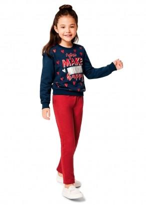 Conjunto Infantil Feminino Inverno Azul Happy Malwee