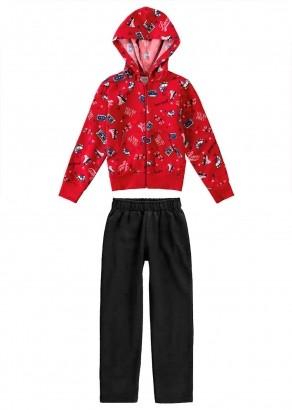 Conjunto Infantil Feminino Inverno Blusa e Calça Vermelho Malwee