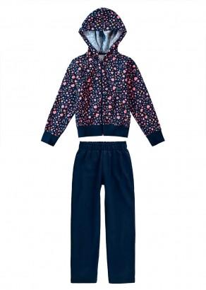 Conjunto Infantil Feminino Inverno Blusa e Calça Azul Malwee