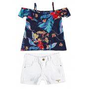 Conjunto Infantil Feminino Azul Marinho Ciganinha Carinhoso