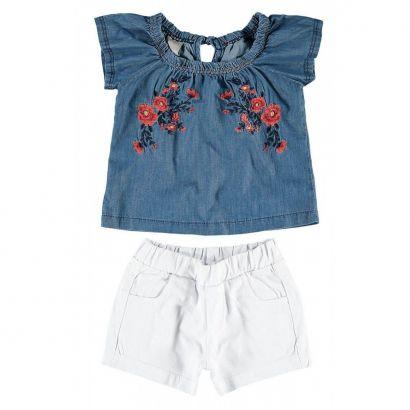 Conjunto Infantil Feminino Bordado Jeans Carinhoso