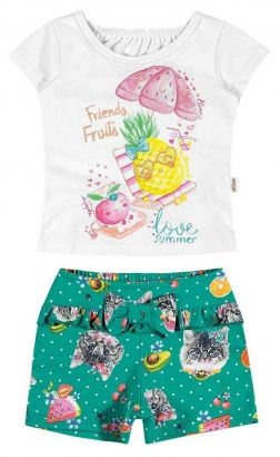 Conjunto Infantil Feminino Branco Friends Fruits Elian