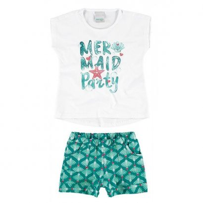 Conjunto Infantil Feminino Branco Mermaid Party Malwee